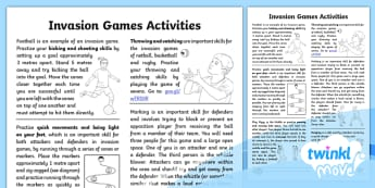 Twinkl Move PE - Y3 Invasion Games - Home Learning Tasks - invasion Games, year 3, homework, home learning, pE, outdoor, games,