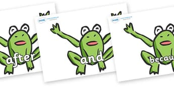 Connectives on Frogs - Connectives, VCOP, connective resources, connectives display words, connective displays