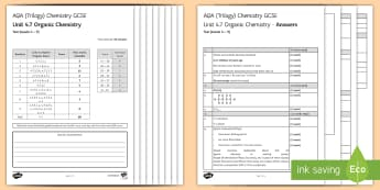AQA Chemistry (Trilogy) Unit 4.7 Organic Chemistry Test - KS4 Assessment, Test, organic chemistry, fractional distillation, crude oil, hydrocarbon, hydrocarbon