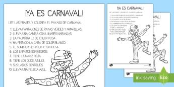 Lee y colorea: El payaso Carnaval - Carnaval España, cuaresma, decoración de la clase, decoración de carnaval, disfraz, disfrazar, pa