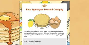 Diwrnod Crempog Bocs Synhwyrau - Pancake Day, dydd mawrth ynyd Diwrnod crempog, blawd, flour, sugar, lemon, oren, sugar, jug, jwg, wyau, eggs, utensil, dydd , ddydd, ddiwrnod