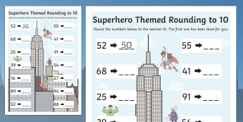 Superhero Themed Rounding To 10 Worksheet - Superhero, Hero, 10