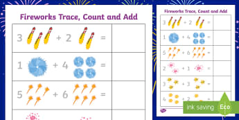Firework Trace Count And Add Worksheet - worksheets, counting