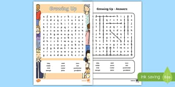 Growing Up Word Search