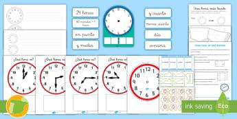 Las horas Pack de recursos - hora, minutos, segundos, y media, en punto, menos cuarto, y cuarto, números, minutero, secundero, r