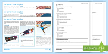 Winter Olympics Differentiated Reading Comprehension Activity French - jeux,olympiques, 2018, ice, skating, luge, bobsleigh,French