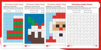 Christmas Multiplication Mosaic Activity Sheets - Christmas, Nativity, Jesus, xmas, Xmas, Father Christmas, Santa, St Nic, Saint Nicholas, traditions,