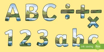 Lake and Mountain Display Lettering - Multiplying Two-Digit Numbers by One-Digit Numbers Using the Distributive Law - partition, multiplic