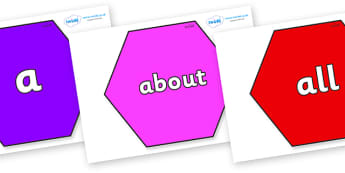 100 High Frequency Words on Hexagons - High frequency words, hfw, DfES Letters and Sounds, Letters and Sounds, display words