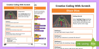 Disco Diva Scratch Activity Sheet - worksheet, computing, programming, coding, algorithms, instructions, commands, Scratch