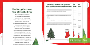 KS2 The Sorry Christmas Tale of Freddie Grice Poem Differentiated Activity Sheet - Christmas, Poem, Poetry, Holidays, Winter, snow