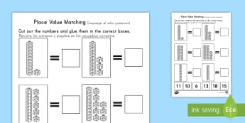 Place Value Tens and Units Cut and Stick Activity Sheet US English/Spanish (Latin) - Place Value Tens and Units Cut and Stick Worksheet - counting, placevalue, countng, couting, plce va