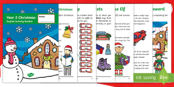 Year 2 Christmas English Activity Booklet - Xmas, Spelling, Grammar, Punctuation, Comprehension