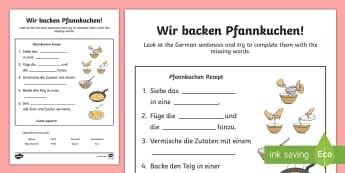 Pancake Baking Word Fill Activity Sheet - Pancake Day, German, Pfannkuchen, Baking