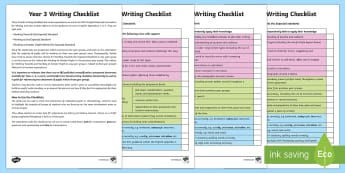 Year 3 Writing Checklist - KS2, year 3, writing, assessment, targets, checklist, progress, objectives, working towards, expecte