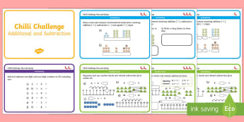 Chilli Challenge Year 1 Addition and Subtraction Maths Cards - challenge cards, plus, take away, KS1, maths mats