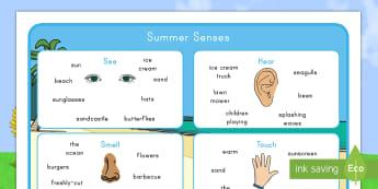 Summer Senses Word Mat - senses, summer, word, vocabulary, key words, i see, i hear, i smell, i taste, observational skills,