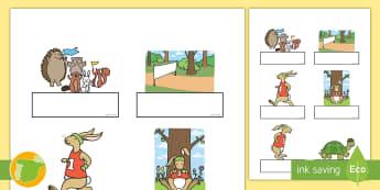 Auto-registro editable: La liebre y la tortuga - cuento, infantil, moraleja, liebre, tortuga, fábula, fabula, animales, editable, word, etiquetas, e