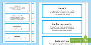 GCSE Poetry - 'One Flesh' by Elizabeth Jennings - Terms for Analysis Cards - The Movement, GCSE Poetry, Edexcel Poetry, poetic devices
