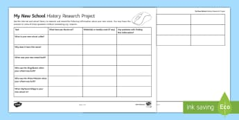 My New School History Research Project Worksheet / Activity Sheet - Internet, Research, School, History, Famous People, Local History