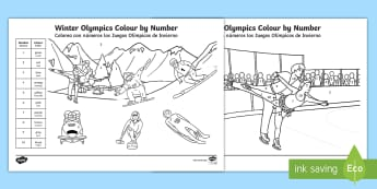 KS1 Winter Olympics Colour by Number Colouring Pages English/Spanish - EAL, recognising numbers, colouring in, olympics colouring, 2018, Y1 and Y2,Spanish-translation