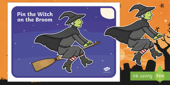 Pin the Witch on the Broomstick Game