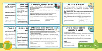 Tarjetas informativas: Ideas para la escritura argumentativa - escribir, lengua, castellano, actividades, a favor, en contra,Australia