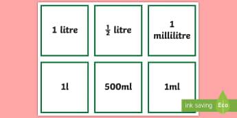 Units of Capacity Cards - measures, capacity, units, group counting cards, choral counting, counting choir,Irish