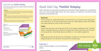 'Matilda' Roleplay Activity Sheet - Roald Dahl Day, drama, Role play, character, themes, matilda wormwood, miss trunchbull