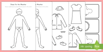 Dress For the Weather Activity Sheet - weather, dress up dolls, seasons, climates, Pre-K weather, worksheet, kindergarten weather, weather