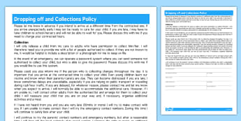 dropping off and collections policy for childminder childminder