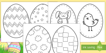 Easter Egg Coloring Templates Activity - Easter, Easter egg, coloring, templates, art, creativity