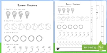 Summer Fractions Activity Booklet - vacation, beach, simple fractions, color fractions, weather, summer maths