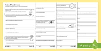 Peer Pressure Choices Activity Sheet - young people, behaviour, emotions, transition, peer pressure, worksheet