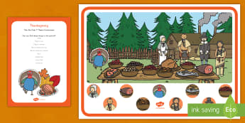 Thanksgiving Can You Find...? Poster - the first thanksgiving, pilgrims, native Americans, turkey, cranberries