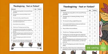 Canada Thanksgiving Fact or Fiction Activity