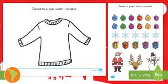 Ficha de actividad: Diseña tu propio suéter navideño  - suéter de navidad, suéter navideño, diseñar, diseño, navidad, español