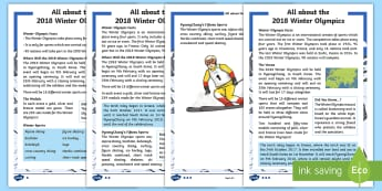 KS1 All about the 2018 Winter Olympics Fact File - south korea, pyeongchang, winter sports, reading, comprehension
