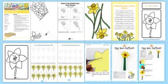 Daffodil Themed  Activity Pack - saint david, st david, st davids day, recipe, spring, March, daffodil, rhyme, flower.