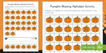 Pumpkin Missing Alphabet Activity Sheet - Alphabet, Letter Sequence, Alphabet Order, Pre-K, Halloween, Cut and Paste, Fall, Autumn, worksheet