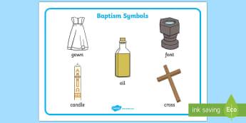 Baptism Symbols Word Mat