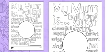 Mother's Day Describing Words Drawing and Colouring Sheet - mothers, day, words, card