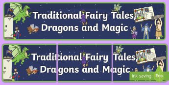 Traditional Fairy Tales, Dragons and Magic Display Banner  - Fairytale Castle Role Play Pack, knight, shield, armour, princess, dragon, castle