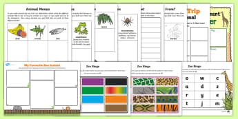 KS1 Summer Fun in the Holidays: Zoo Trip Activity Pack - animals, day trip, family, parents, visit
