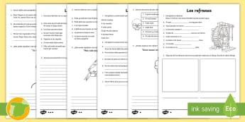 Ficha de actividad: Los refranes  - Refranes, proverbios, frases hechas, dichos, populares,Spanish