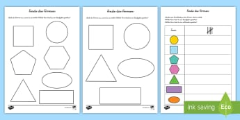 Finde die Formen Arbeitsblätter - Figuren, Flächen, Geometrie, Mathe, Umwelt, Beobachtungsgabe, ,German