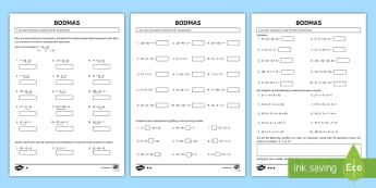 Year 6 Order of Operations BODMAS Maths Differentiated Activity Sheets - KS2, Maths, Year 6, order of operations, BODMAS, BIDMAS, Use their knowledge of the order of operati