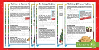 LKS2 The History of Christmas Traditions Differentiated Fact File - Christmas trees, Queen Victoria, Christmas crackers, Christmas food, reading
