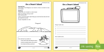 On a Desert Island Activity Sheet - Amazing fact july, ks1, writing, list, description, worksheet