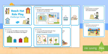 Beach Hut Themed  Role Play Challenge Cards - Seaside, Holiday, Role Play, Ideas, Activities, Speaking, Listening